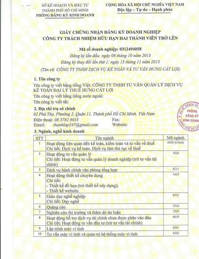 giấy phép kinh doanh dịch vụ kế toán